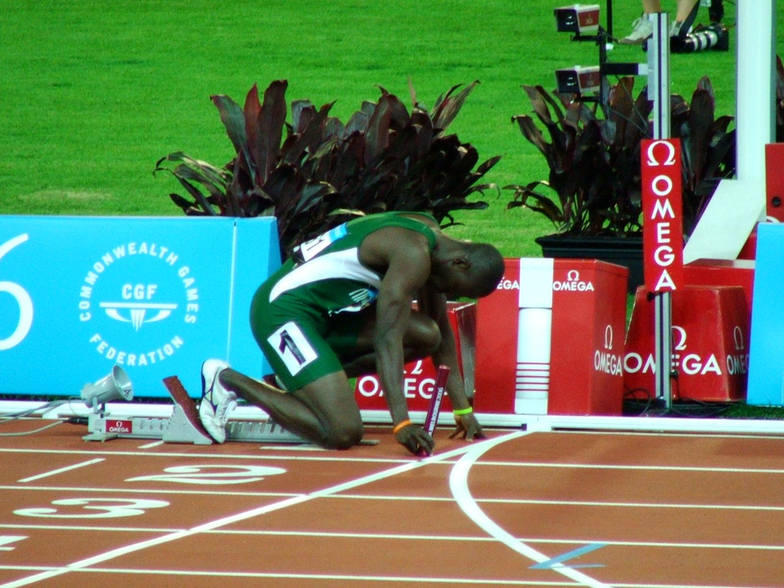 Nigeria at the 4 x 400 start line